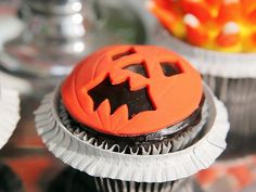 Jack-O-Lantern Cupcakes from FoodNetwork.com