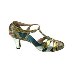 Art Deco Lame and Gilt Kid Evening Shoes 1