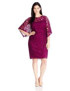 6cef160a796 Adrianna Papell Women s Plus-Size Kimono Sleeve Lace Dress