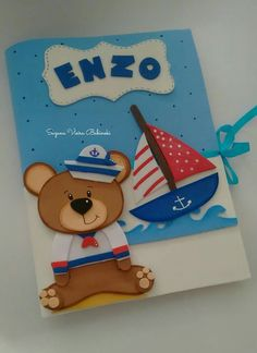 Capa decorada urso marinheiro