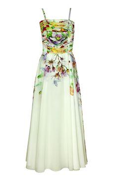 Suknia Bona biała w kolorowe kwiaty Semper #dress #summer2016 #floral #orchid #trendy #fashion2016 #fashionbrand #maxidress #rose #elegance #elegant #designer #brand #longdress #colourfull
