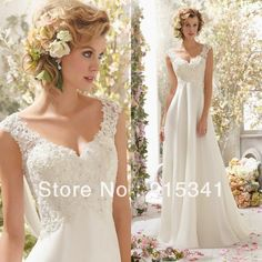 New Arrival Fashion A-line V Neck Lace Appliques Chiffon Long Empire Pregnant Wedding Dresses 2014