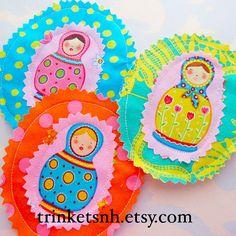 Fabric Appliques Matryoshka Russian Nesting Dolls by trinketsnh, $6.75