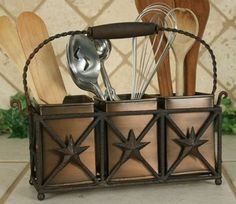 Star Utensil Holder with Aged Copper Boxes