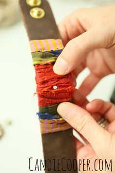 Sari wrapped cuff bracelet Punching hole for concho in leather