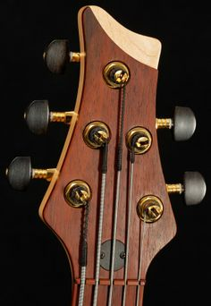Marleaux Diva 5 Fretless Bass Interesting veneer-headstock cutaway treatment
