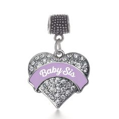 Lavender Baby Sis Pave Heart Memory Charm