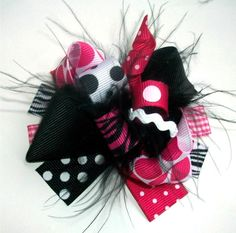 Fabulously Fun Sassy Pink And Black MINI Boutique Hair Bow-Funky Fun-Over The Top Hair Bow. $5.99, via Etsy.