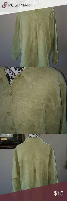 "OVERSIZED FAUX SUEDE BUTTON UP Pretty sage green faux suede button up made of 100% polyester. NWOT Measurements laying flat: - Shoulder to shoulder 19"" - Bust 24"" - Sleeve length 24"" - Length 27.5"" Studio Works Tops Button Down Shirts"