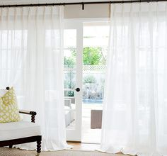 Save Off Custom Sheer Linen Drapes at DrapeStyle. You Choice of Pleat Style Including Contemporary Grommets. Drapes And Blinds, White Sheer Curtains, Types Of Curtains, Linen Curtains, Short Curtains, Outdoor Drapes, Insulated Drapes, Velvet Drapes, Curtain Patterns