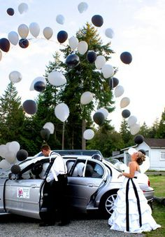 Fill getaway car with balloons. As you make your escape, the balloons will fly out in celebration- I want someone to do this for my wedding!!