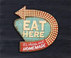 "Retro Style Tin ""Eat Here"" Sign, Embossed Tin Eat Here Sign"