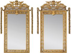 TWO ENGLISH GILTWOOD PIER GLASSES FORMING PAIR, THE ORIGINAL CRESTINGS AND ONE MIRROR GEORGE III, CIRCA 1770-1780, THE OTHER MIRROR EARLY 19TH CENTURY, THE DESIGN ATTRIBUTED TO WILLIAM CHAMBERS  Estimate 100,000 — 150,000 EUR