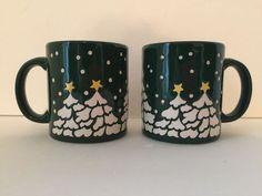 Set 2 Vtg Waechtersbach Coffee Mugs GREEN CHRISTMAS TREES Germany Winter Snow