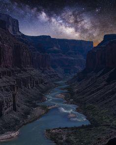 Nankoweap at Night the Colorado River as seen below Nankoweap in the Grand Canyon at night Arizona US by Matt Payne [1638 x 2048]