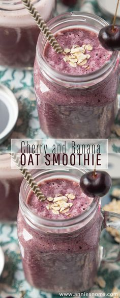 Cherry and Banana Oat Smoothie A thick, sweet and hearty Oat Smoothie with Cherries, bananas and oats. Filling and delicious, this smoothie is perfect for breakfast, lunch or an afternoon pick me up! Banana Oat Smoothie, Blackberry Smoothie, Smoothie Prep, Banana Oats, Raspberry Smoothie, Juice Smoothie, Smoothie Drinks, Vitamix Juice, Lactation Smoothie