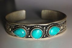 boho edgy unique turquoise cuff bracelet by UrbaneChic on Etsy