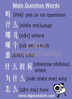 DigMandarin Questions with 6 W in Chinese