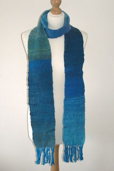Blue extra long scarf by TheQuiltedWeaver on Etsy