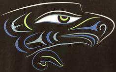 . Seahawks Gear, Seahawks Fans, Seahawks Football, Seattle Seahawks, Falcon Tattoo, Hockey Logos, Goalie Mask, Haida Art, Native American Design