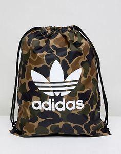 aa6fe1510 adidas Originals Drawstring Bag In Camo CD6099 Men's Backpack, Adidas  Backpack, Drawstring Backpack,