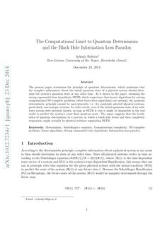 The computational limit_to_quantum_determinism_and_the_black_hole_information_loss_paradox by Sérgio Sacani via slideshare