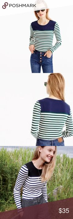 Placed Stripe Rib T-Shirt Worn Once / color Indigo Forest J. Crew Tops Tees - Long Sleeve