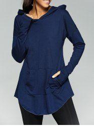 Front Pocket Thumb Hole Loose-Fitting Hoodie (PURPLISH BLUE,L) | Sammydress.com Mobile