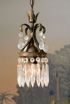 Eleonore Crystal Chandelier from Soft Surroundings master bath Antique Chandelier, Chandelier Lighting, Crystal Chandeliers, Small Bathroom Chandelier, Small Chandeliers, Bubble Chandelier, Chandelier Ideas, Antique Lamps, Lamp Light