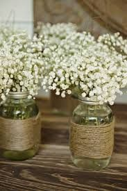 Image result for rustic reception centerpieces with baby's breath
