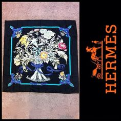 "Authentic Rare Regina By Leila Menchari ""1972"" Navy Hermes Silk Scarf #HERMS #ScarfShawlWrap"
