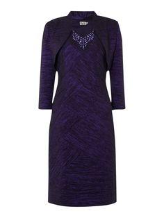 Eliza J Crushed taff dress with jacket, Purple