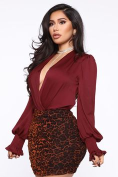 Done With Your Issues Bodysuit - Burgundy – Fashion Nova Black Dress Outfits, Curvy Girl Outfits, Cute Casual Outfits, Sexy Outfits, Fashion Outfits, Burgundy Fashion, Black Women Fashion, Womens Fashion, Vogue Fashion
