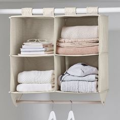 Perfect for stowing your clothes and accessories, this smart closet organizer keeps your space tidy and clutter-free. Durable straps hang from your closet bar so your floors are clear, and the bottom rod is an added clothes hanger to maximize your space. Pottery Barn Teen Recycled Double Bar Hanging Closet Organizer Dorm Closet Organization, Closet Storage Bins, Dorm Storage, Storage Shelves, Smart Closet, Closet Bar, Front Closet, Hanging Shoe Rack, Hanging Closet Organizer
