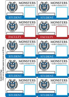Sticker ID, Monsters Inc, Stickers - Free Printable Ideas from Family Shoppingbag.com