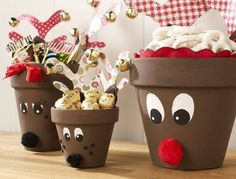 Reindeer Pots--paint clay pots brown , paint on eyes, and then glue on a fuzzy ball nose. Line with Christmas tissue paper , fill with your favorite Christmas treat and you have a great gift for neighbors and friends!