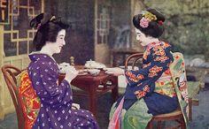 Geiko and Maiko having Tea 1930s