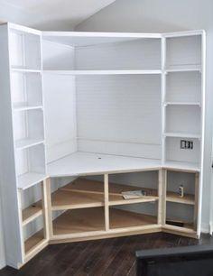 Diy Built In Corner Tv Cabinet Bookshelves Part 10 - Built In Corner TV Shelf