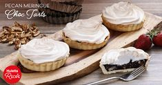 Chocolate Pecan Tartlets Topped with Meringue