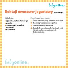Pomysły na smaczne i zdrowe deserki dla niemowlaka, które łatwo i szybko możesz przygotować w domu Baby Food Recipes, Diet Recipes, Cooking With Kids, Kids And Parenting, Nutrition, Smoothie, Healthy, Menu, Auntie
