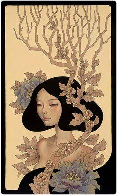 "Audrey Kawasaki - ""Ponderer"" oil, graphite, and ink on wood panel 18""x30"" Thinkspace Gallery SCOPE Miami Beach Art Fair 2013"