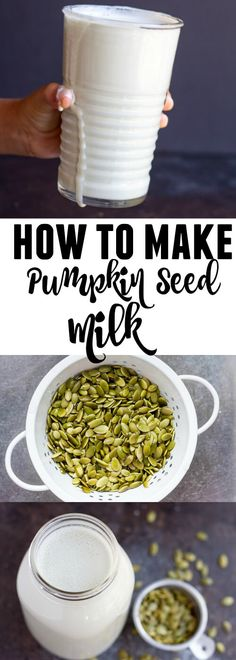 dairy free smoothie Pumpkin seed milk is a thick and creamy dairy free milk that has a subtle nutty flavor. Delicious and so easy to make. Primal Recipes, Milk Recipes, Dairy Free Recipes, Raw Food Recipes, Healthy Recipes, Food Tips, Gluten Free, Smoothie Drinks, Fruit Smoothies