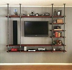 Industrial looking floating shelves industrial pipe entertainment center small entertainment shelves entertainment industrial floating shelves uk . Diy Home Decor Rustic, Natural Home Decor, Industrial Shelving, Industrial House, Industrial Style, Industrial Closet, Industrial Apartment, Industrial Bathroom, Industrial Wallpaper