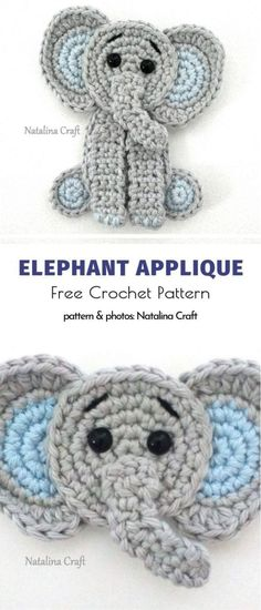 crochet applicates Recycling, upcycling, making something out of nothing - we, crafters, know these terms very well! Whether it's about upcycling your beloved cardigan from grandma Crochet Applique Patterns Free, Baby Applique, Elephant Applique, Crochet Elephant, Crochet Motif, Knitting Patterns, Crochet Designs, Free Pattern, Crochet Appliques