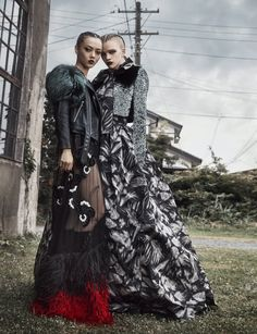 Stella Lucia and Rila Fukushima wearing Marc Jacobs Fall '16. Shot by Federico De Angelis,  styled by Ako Tanaka for Numero Tokyo