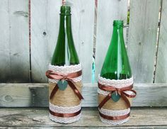 Fall Wedding Decoration / Wedding Bud Vase by CarolesWeddingWhimsy, $24.99, set of 2, Green Glass Burlap and Lace Wedding Bud Vase - perfect for Rustic Wedding, Country Wedding or Fall Wedding....or Home Decor.  Check them out at https://www.etsy.com/listing/152363821/fall-wedding-decoration-wedding-bud-vase
