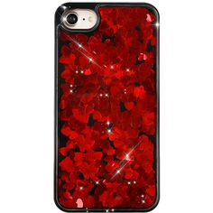 Red Hearts Glitter Black iPhone Case (475 ZAR) ❤ liked on Polyvore featuring accessories, tech accessories, phone cases, phone, glitter iphone case, iphone sleeve case, clear iphone case and iphone cover case