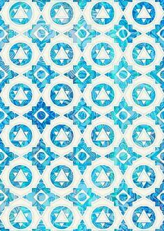 Aqua Blue & Off White Geometric Pattern Art Print