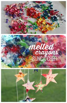 melted crayons suncatcher collage