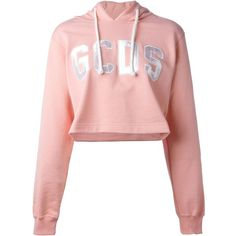 Gcds Logo Patch Cropped Hoodie ($135) ❤ liked on Polyvore featuring tops, hoodies, crop, crop tops, shirts, hoodie crop top, cotton hoodies, logo tops, cotton hooded sweatshirt and logo hoodies